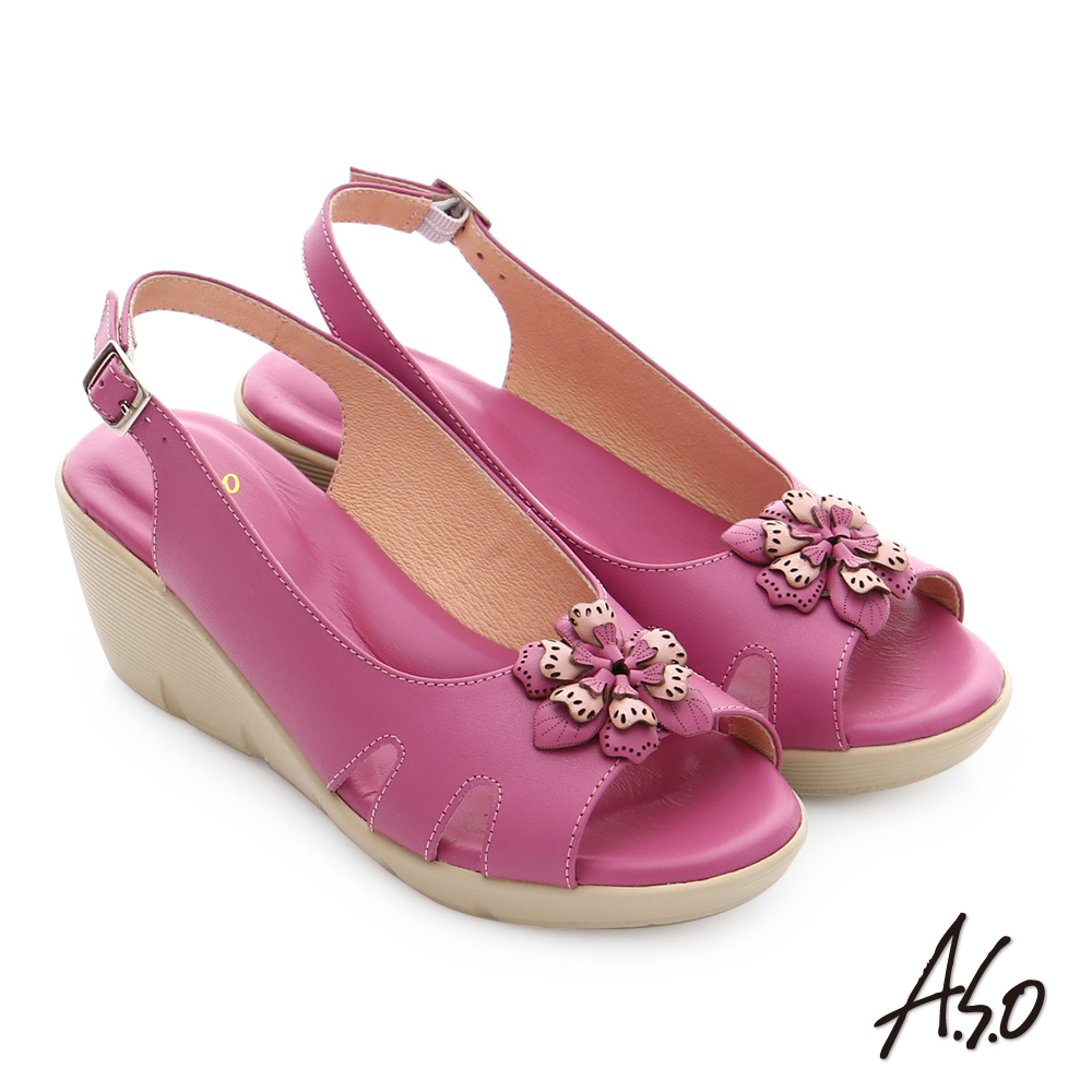 A.S.O 挺麗氣墊 真皮立體雕花楔型涼鞋 桃粉色