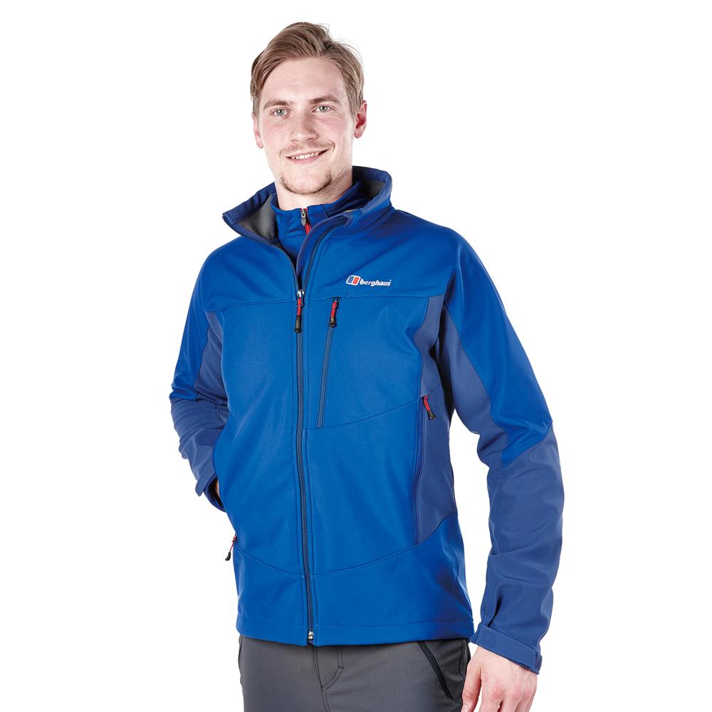 【Berghaus貝豪斯】男款WS溫度調節防風軟殼衣外套H22MT6-藍