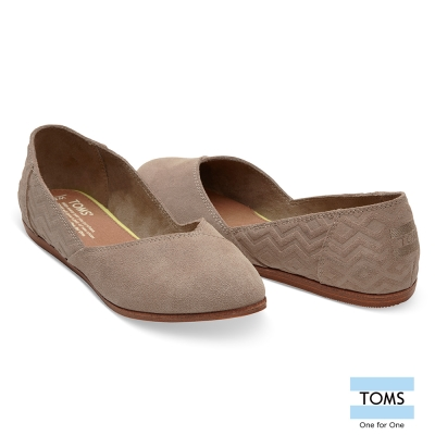 TOMS 麂皮絨面壓花平底尖頭鞋-女款