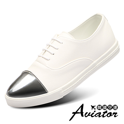 Aviator*韓國空運-正韓製Paperplanes皮革金屬頭綁帶休閒鞋-白