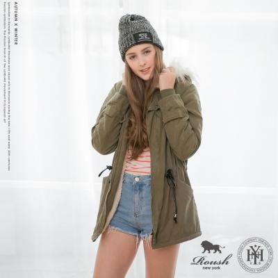 ROUSH 女生羔羊毛鋪棉毛帽軍裝大衣 (3色)