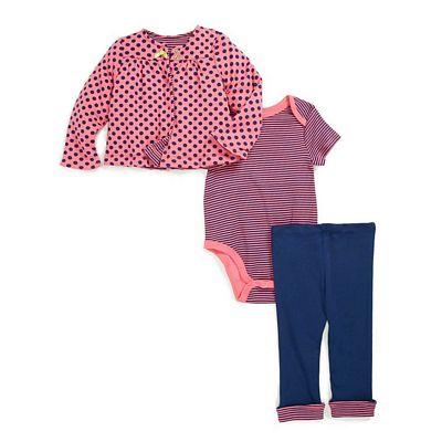 offspring MLG00294N 點點條紋三件式長袖套裝 (3-9m)