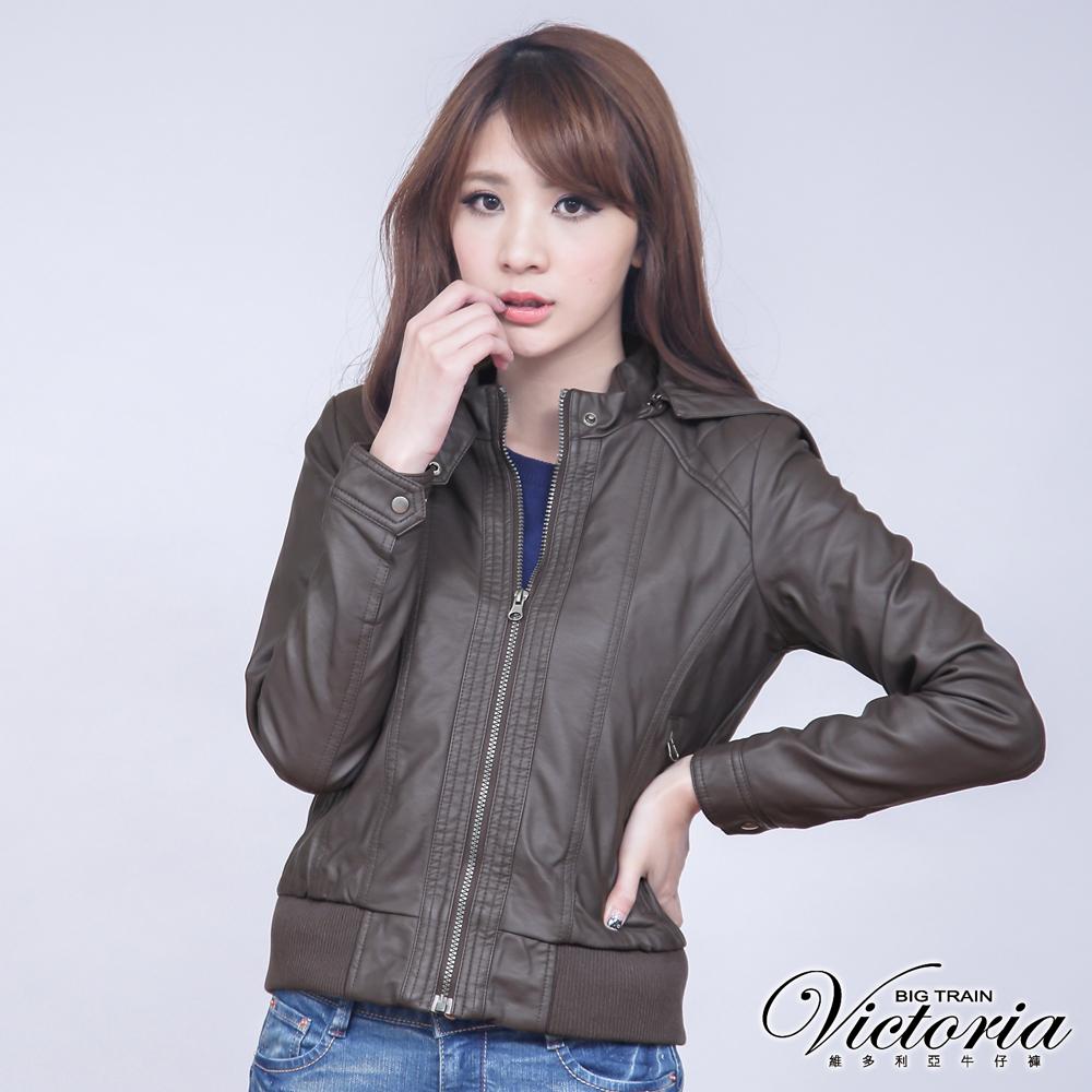 Victoria 菱格壓線PU外套-女-深卡其
