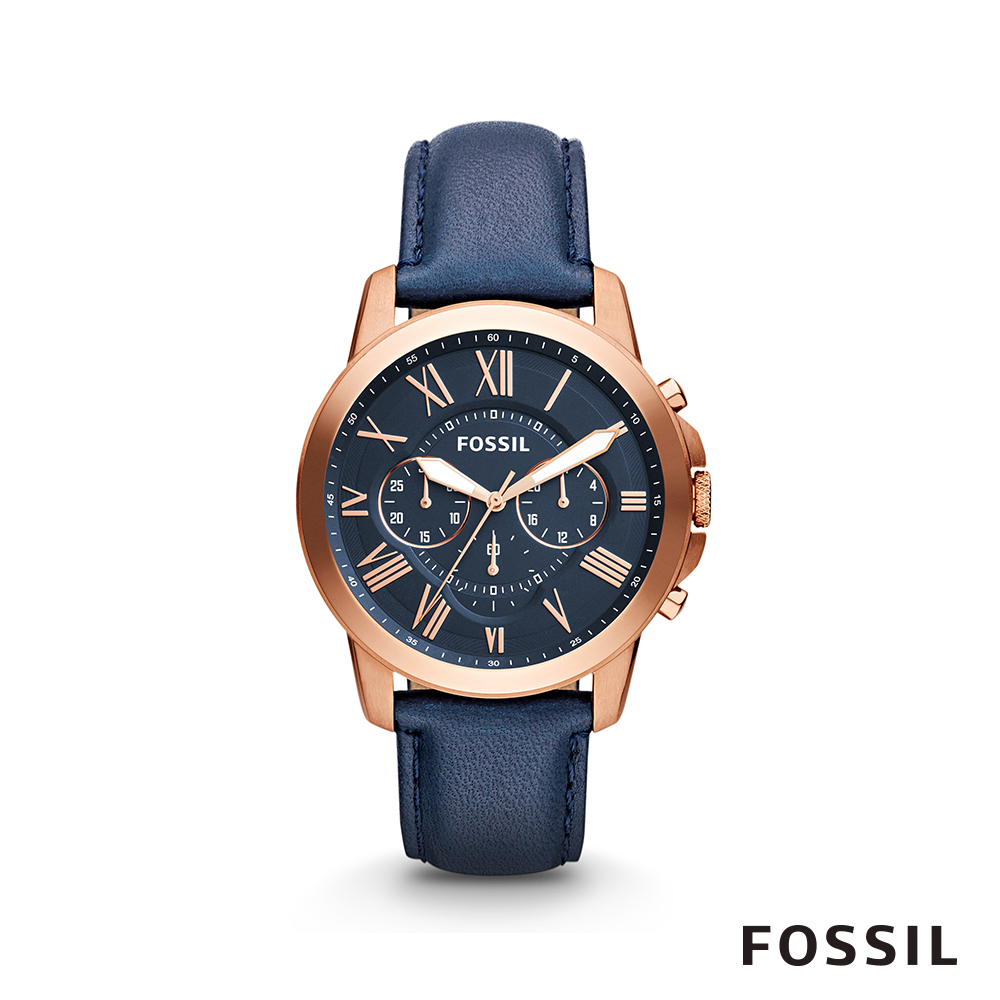 FOSSIL GRANT 大錶面男錶-午夜藍玫瑰金 約44mm FS4835