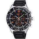 agnes b. 環視宇宙三眼計時腕錶(BW8002P1)-黑x橘/42mm
