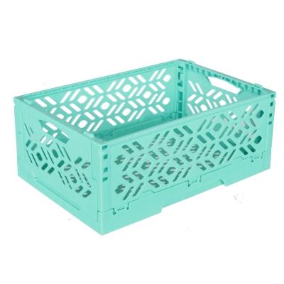 居家達人 創意摺疊式萬用收納盒 置物籃 藍綠 2入