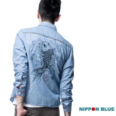 日本藍 BLUE WAY 花布鯉魚襯衫
