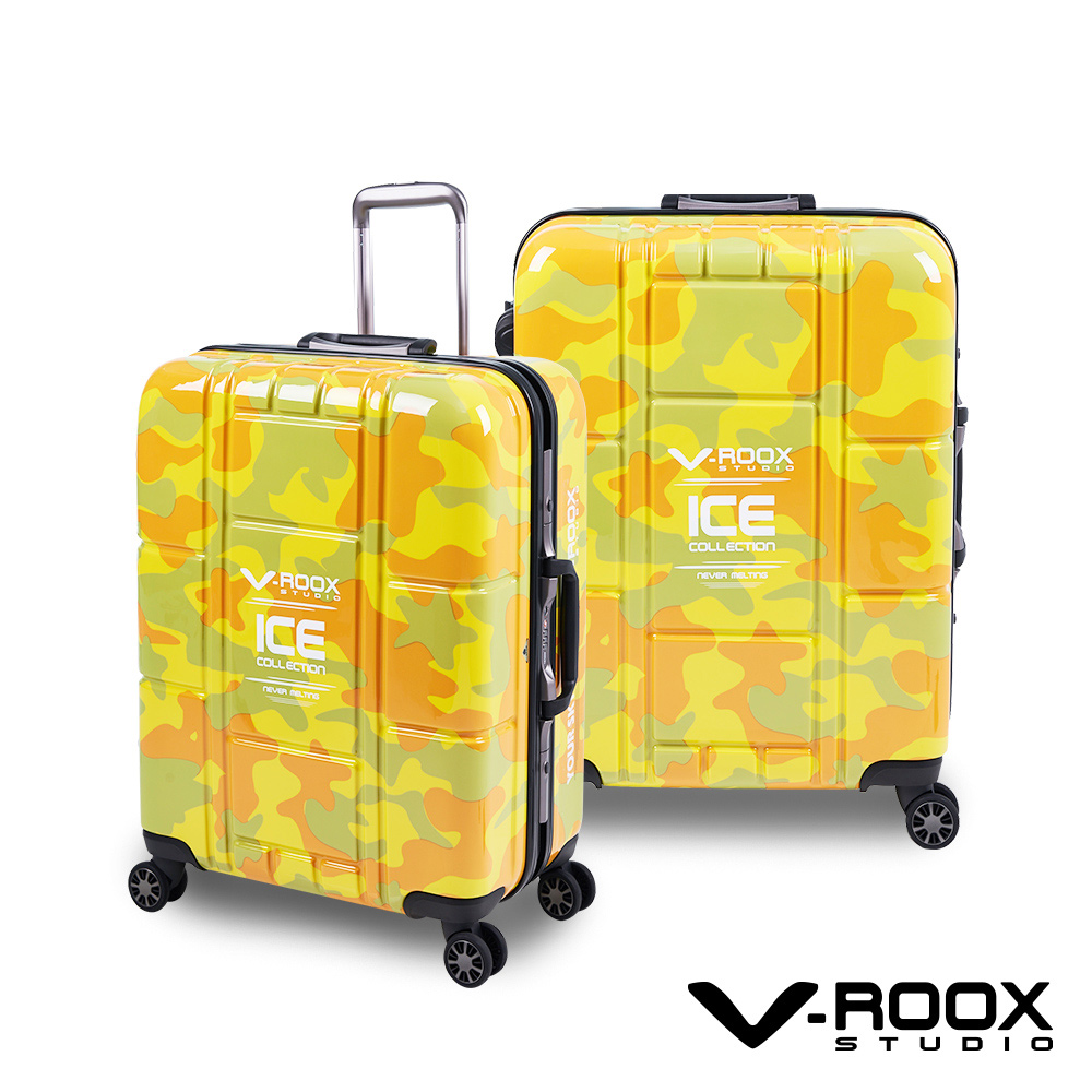 V-ROOX ICE  25吋 黃迷彩 不敗迷彩時尚硬殼鋁框行李箱