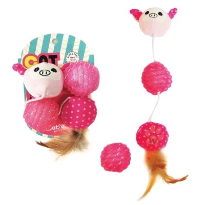 寵喵樂《逗貓玩具-小豬+球+羽毛玩具》一組(LWT-88187)