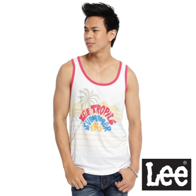 Lee-隨心所欲-粉紅接邊度假風印花無袖背心-男款-白色