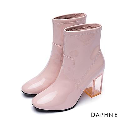 達芙妮DAPHNE 短靴-鏡面漆皮透明粗跟短靴-粉紅