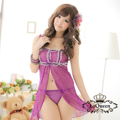 情趣睡衣   挑逗開衩薄紗情趣睡衣-紫La Queen