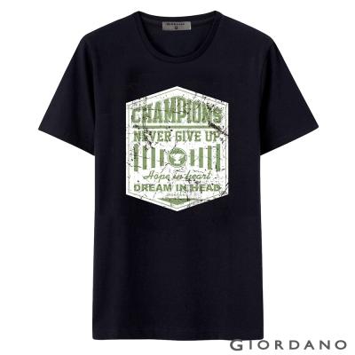 GIORDANO-男裝字母印花純棉圓領短袖TEE