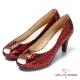 CUMAR台灣製造 金屬色羊皮高跟魚口鞋-紅 product thumbnail 1