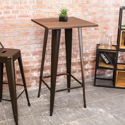 Boden-加登2尺工業風實木鐵腳高吧台桌-60x60x108cm