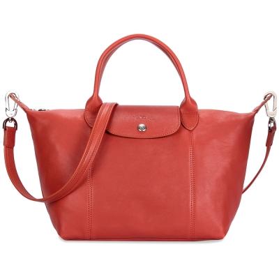 Longchamp Le Pliage Cuir小羊皮短把折疊小型水餃包-磚紅色