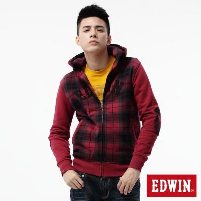 EDWIN-外套-學院風格剪接連帽外套-男-紅色