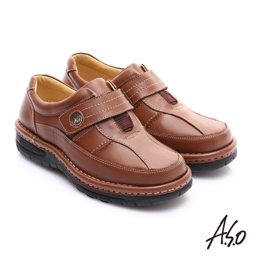 A.S.O 抗震雙核心 蠟感牛皮雙縫線魔鬼氈奈米休閒皮鞋 茶色