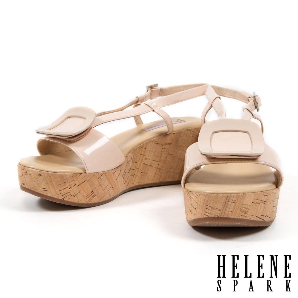 涼鞋 HELENE SPARK 復古度假方釦牛軟漆皮楔型涼鞋-粉