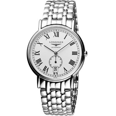 LONGINES Presence 經典小秒針機械腕錶-銀/38.5mm