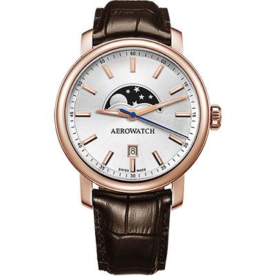 AEROWATCH Renaissance moon 復刻石英腕錶-銀x深咖啡/40mm