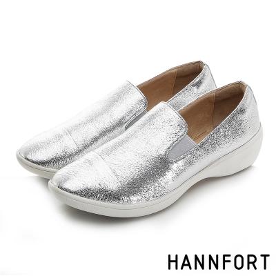 HANNFORT H-COMF五密度鑽石紋樂福鞋-女-璀璨銀