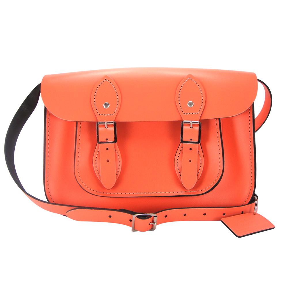The Leather Satchel 英國手工牛皮劍橋包 肩背 側背包 珊瑚紅 11吋