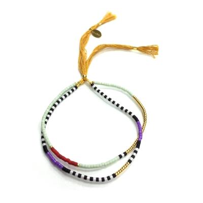 SHASHI 美國品牌 Carlita 尼泊爾風 雙層幸運手鍊 金黃