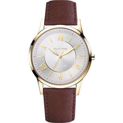 RELAX TIME RT58 經典學院風格腕錶-金框x咖啡/42mm
