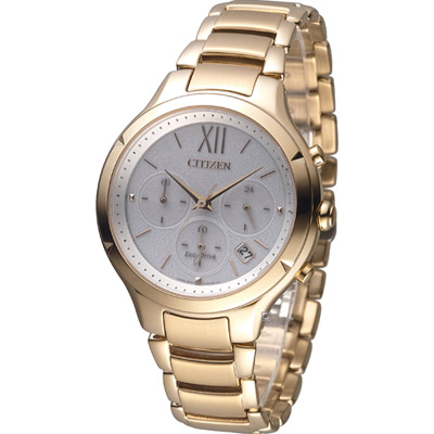 CITIZEN L系列 甜美柔和光動能計時腕(FB4013-51A)錶-玫瑰金/37mm