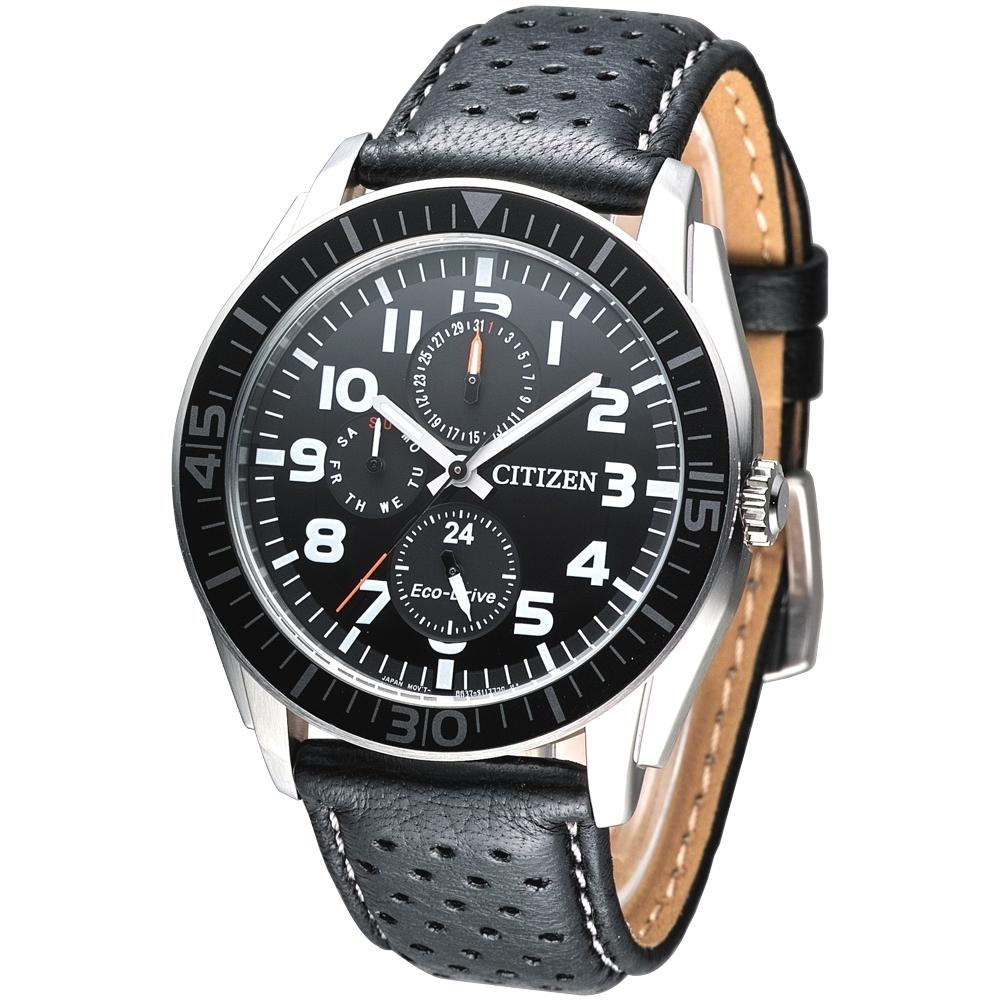 CITIZEN Eco-Drive 都會雅爵3環光動能腕錶(AP4010-03E)-黑/42mm