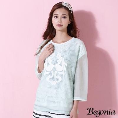 Begonia 刺繡烏干紗蕾絲假兩件上衣(共二色)