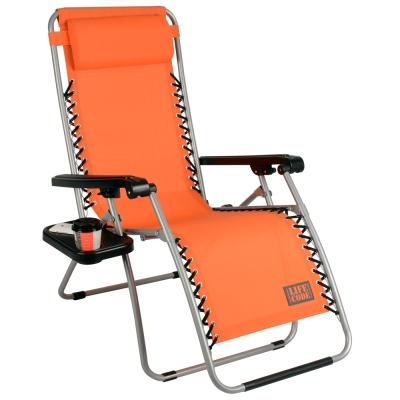LIFECODE 特斯林透氣無限段折疊躺椅-附置物杯架