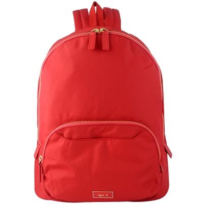 agnes b. voyage 紅色厚質尼龍布金屬標誌後背包