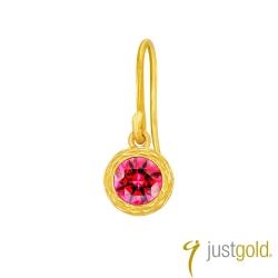 鎮金店Just Gold 螢火系列黃金單耳耳環(耳勾)-紅色