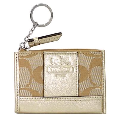 COACH淺卡C-Logo拼接燙金漆皮方型鑰匙零錢包