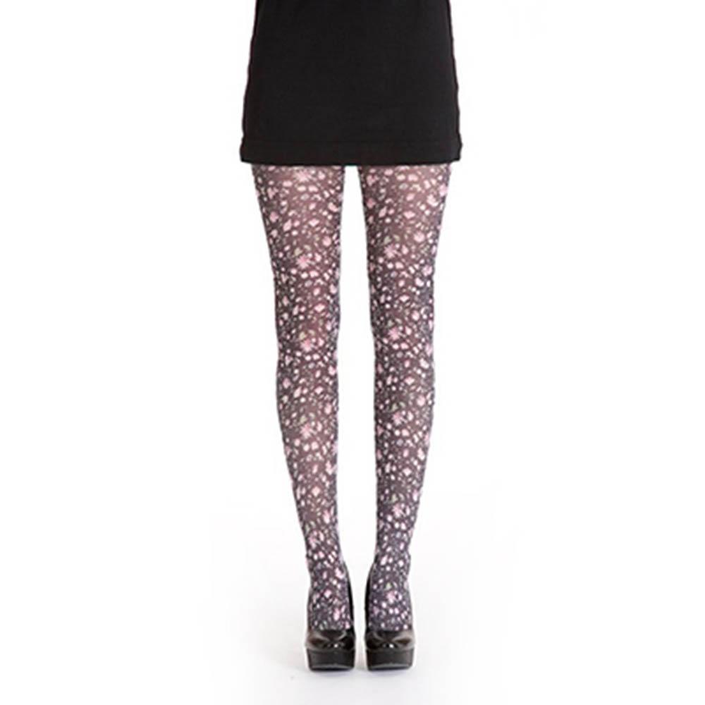 【摩達客】英國進口義大利製【Pamela Mann】小花圖紋印花彈性褲襪
