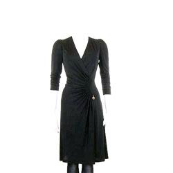 CLASS roberto cavalli 黑色V領側抓摺長袖洋裝