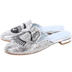 Chiara Ferragni Flirting 縫製亮片眨眼穆勒鞋(銀色)