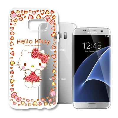 Hello Kitty 三星 Galaxy S7 Edge 浮雕彩繪透明軟殼(甜...
