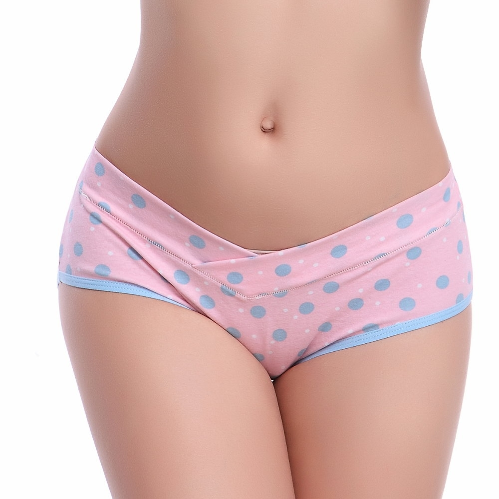 Keep Chic孕婦裝-粉底藍點低腰竹纖維內褲