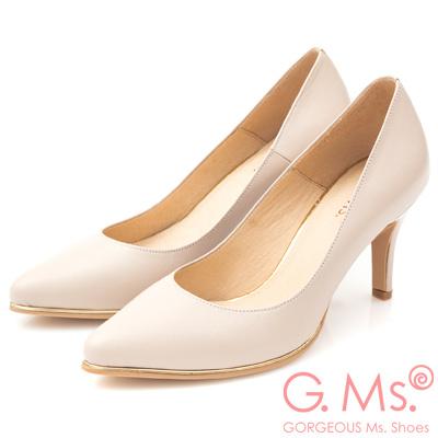 G.Ms. MIT系列-牛皮尖頭金邊裝飾靜音高跟鞋-粉杏