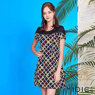 【YIDIE衣蝶】幾何彩色線條剪裁拼接洋裝