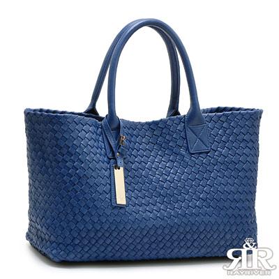 【2R】頂級訂製NAPPA羊皮手工梭織經典包(深寶藍)