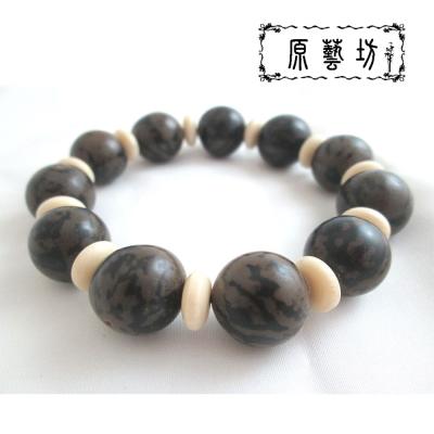 原藝坊  天然花虎斑菩提子白隔珠手鍊(圓珠直徑12-14mm)