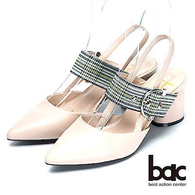 bac時尚混搭格紋混搭真皮低跟涼鞋-粉膚