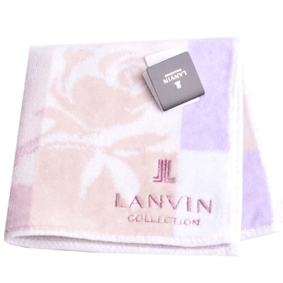 LANVIN 優雅玫瑰圖騰品牌LOGO刺繡小方巾(紫/灰/米系)