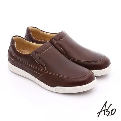 A.S.O 輕量抗震 蠟感真皮直套式素面休閒鞋 咖啡