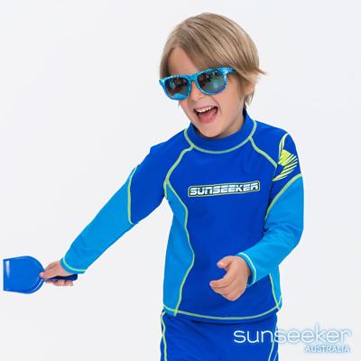 澳洲Sunseeker抗UV防曬長袖一件式泳衣上衣-小男童寶藍