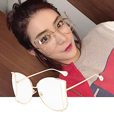 BeLiz 蝴蝶削框 珍珠金屬鏡架平光眼鏡 金框白